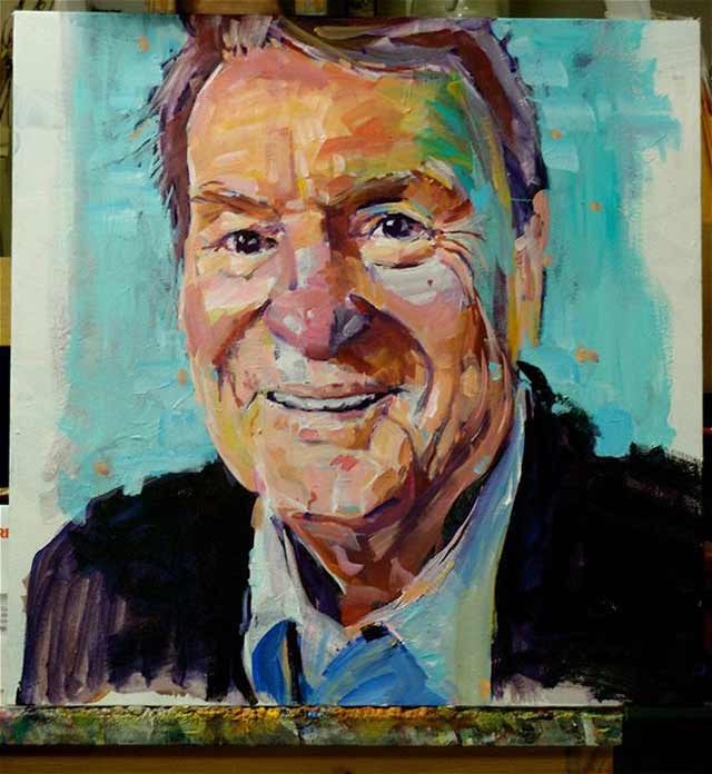 """Painting of Jim Lehrer from """"The Collection of PBS KVIE"""" donated by the artist, David Lobenberg"""